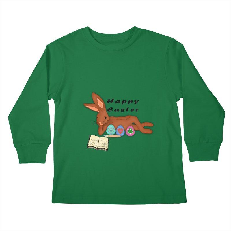 Learning Bunny Kids Longsleeve T-Shirt by nicolekieferdesign's Artist Shop