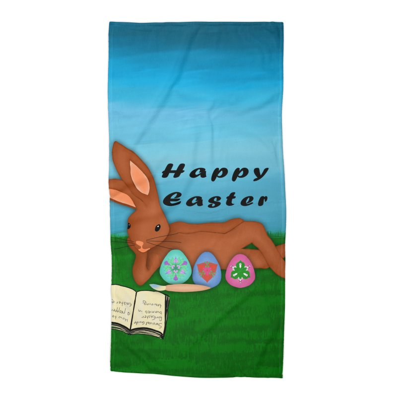 Easter bunny in training Accessories Beach Towel by nicolekieferdesign's Artist Shop