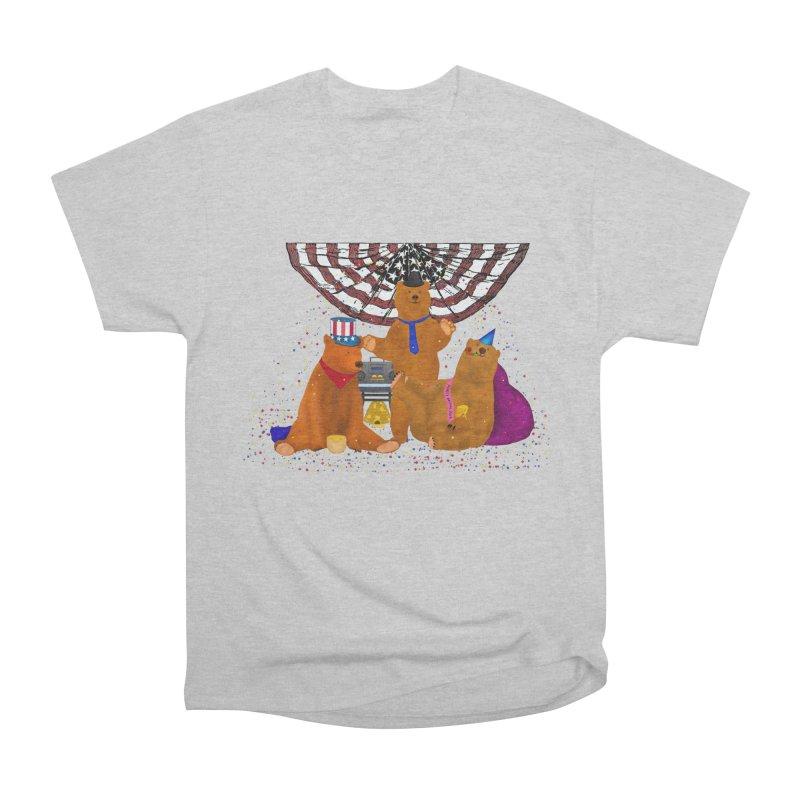 Bear Party Men's Heavyweight T-Shirt by nicolekieferdesign's Artist Shop
