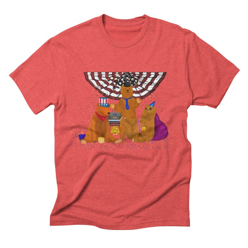 Bear Party Men's Triblend T-Shirt by nicolekieferdesign's Artist Shop