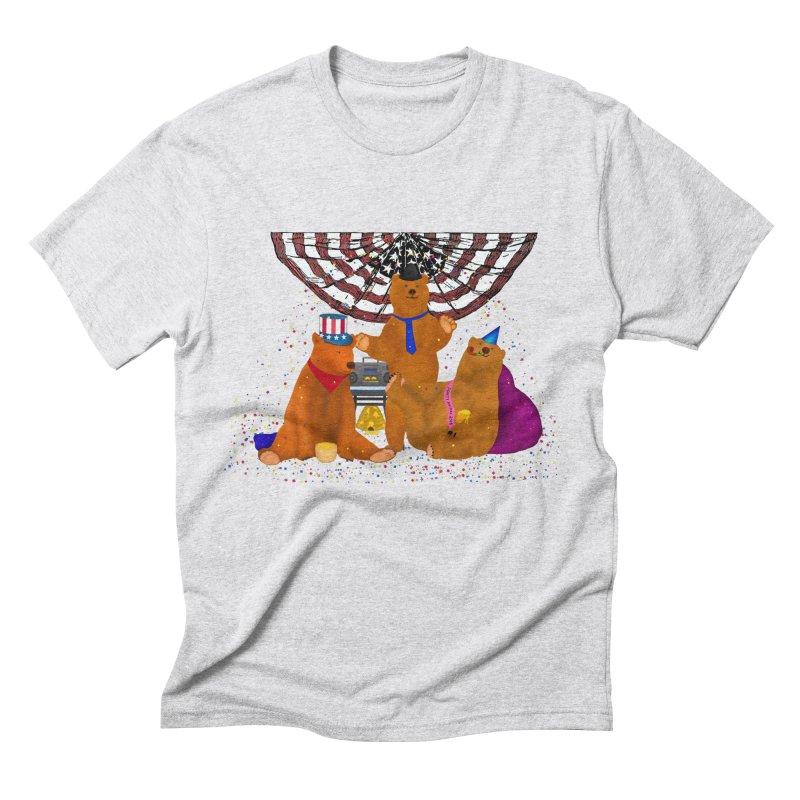 Bear Party Men's Triblend T-Shirt by nicolekieferdesign's Artist Shop