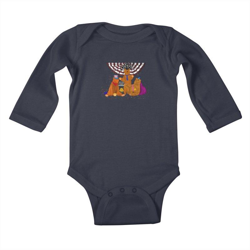 Bear Party Kids Baby Longsleeve Bodysuit by nicolekieferdesign's Artist Shop