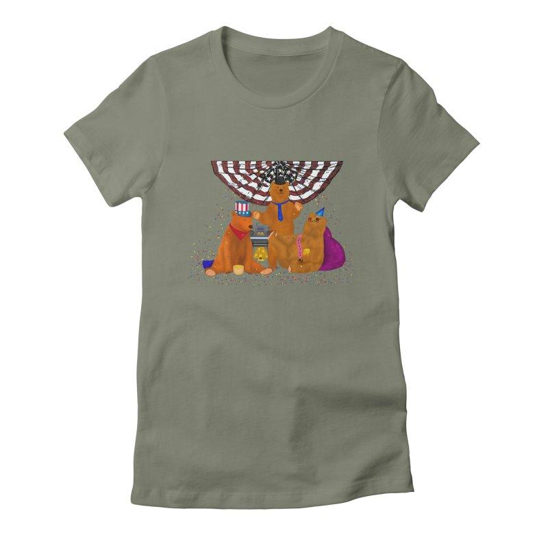Bear Party Women's Fitted T-Shirt by nicolekieferdesign's Artist Shop