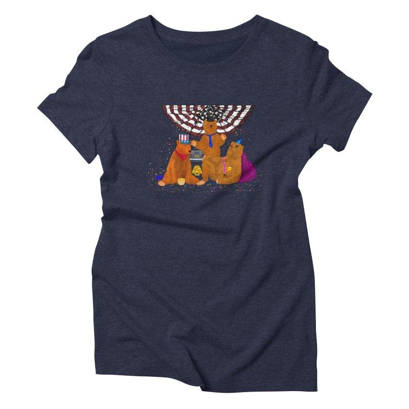 Bear Party Women's Triblend T-Shirt by nicolekieferdesign's Artist Shop