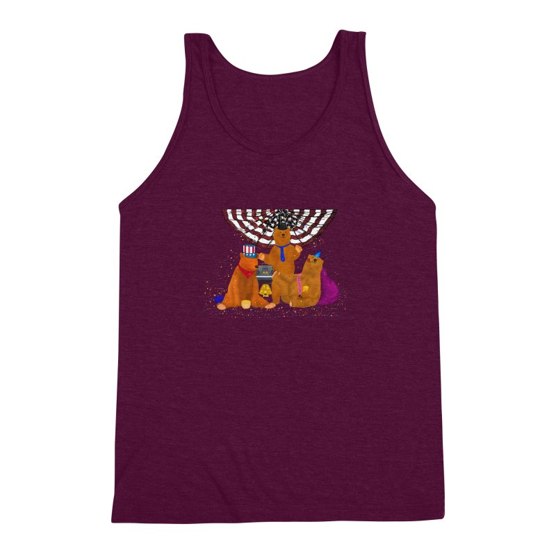 Bear Party Men's Triblend Tank by nicolekieferdesign's Artist Shop