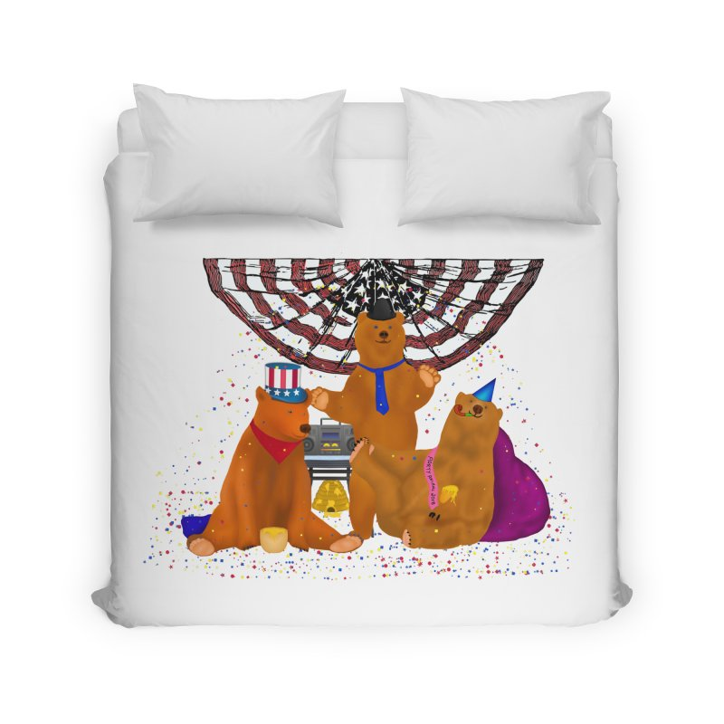 Bear Party Home Duvet by nicolekieferdesign's Artist Shop