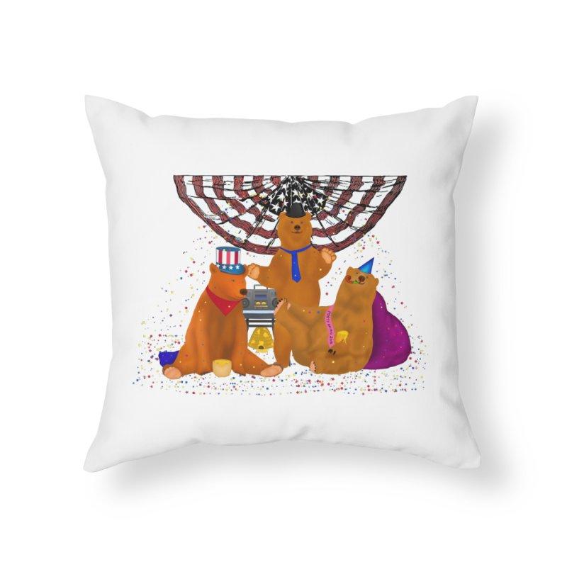 Bear Party Home Throw Pillow by nicolekieferdesign's Artist Shop