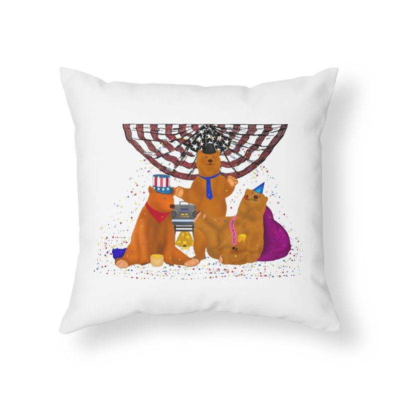 Bear Party Home Throw Pillow by nicolekieferdesign's Artist Shop