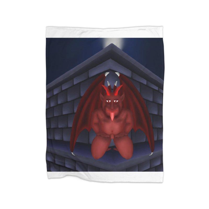 Red Gargoyle on Brick building Home Blanket by nicolekieferdesign's Artist Shop