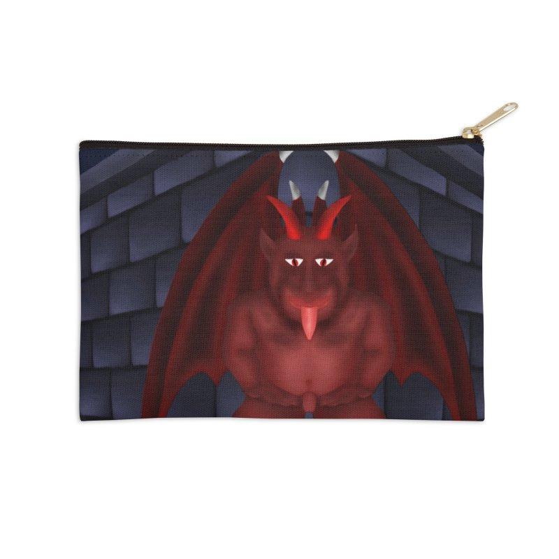 Red Gargoyle on Brick building Accessories Zip Pouch by nicolekieferdesign's Artist Shop