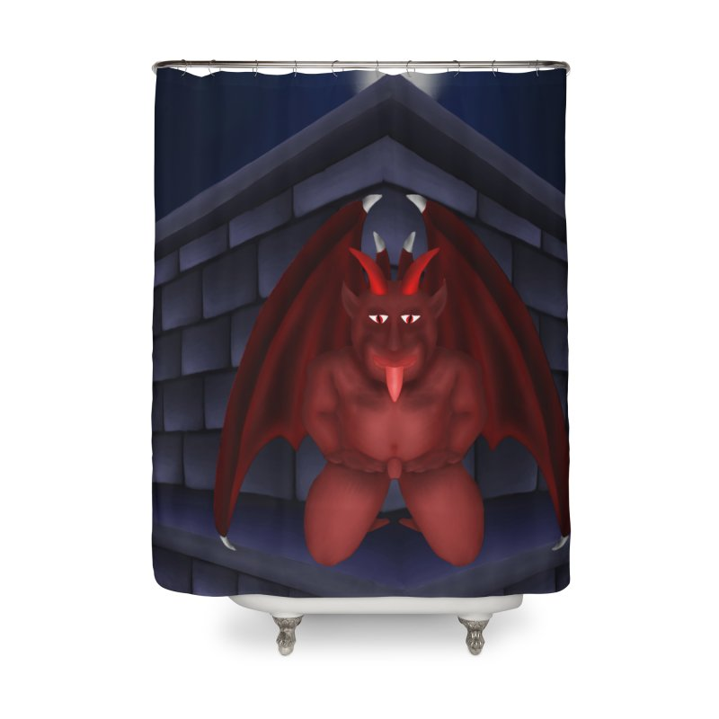 Red Gargoyle on Brick building Home Shower Curtain by nicolekieferdesign's Artist Shop