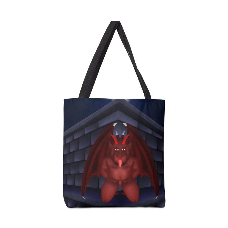 Red Gargoyle on Brick building Accessories Bag by nicolekieferdesign's Artist Shop