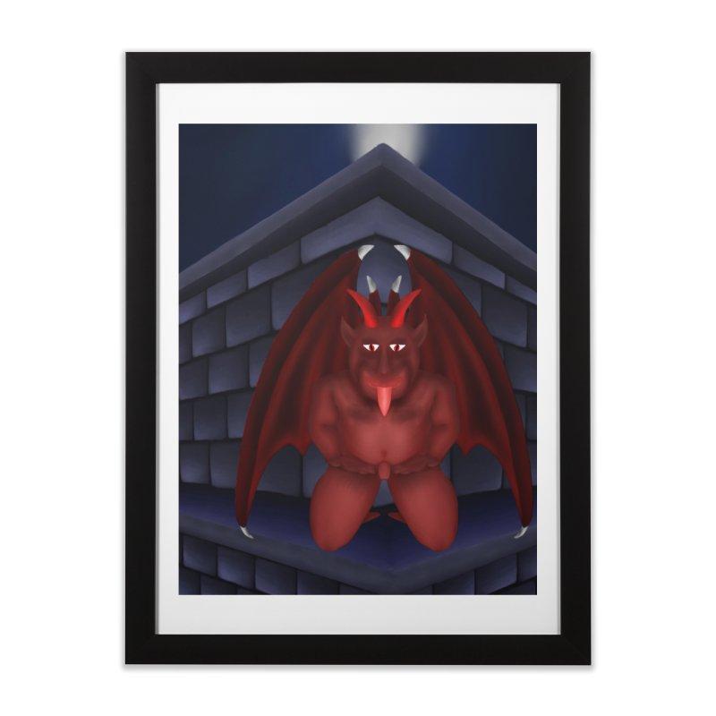 Red Gargoyle on Brick building Home Framed Fine Art Print by nicolekieferdesign's Artist Shop
