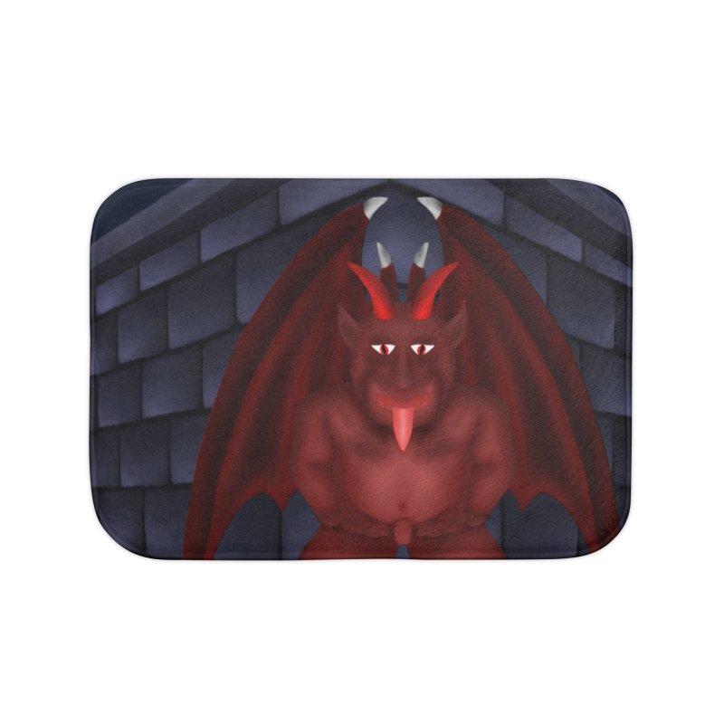 Red Gargoyle on Brick building Home Bath Mat by nicolekieferdesign's Artist Shop