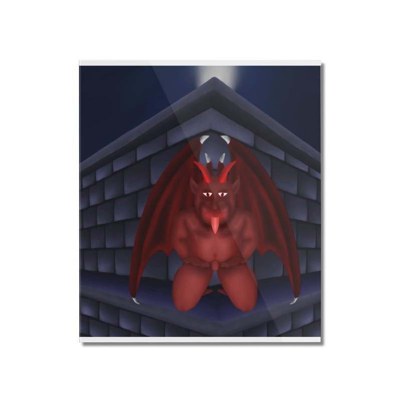 Red Gargoyle on Brick building Home Mounted Acrylic Print by nicolekieferdesign's Artist Shop