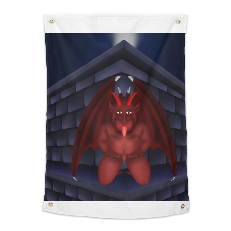 Red Gargoyle on Brick building Home Tapestry by nicolekieferdesign's Artist Shop