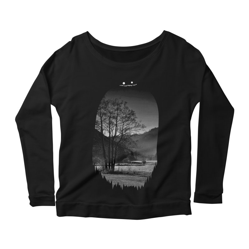 Monster Hill Women's Longsleeve Scoopneck  by Niel Quisaba's Artist Shop