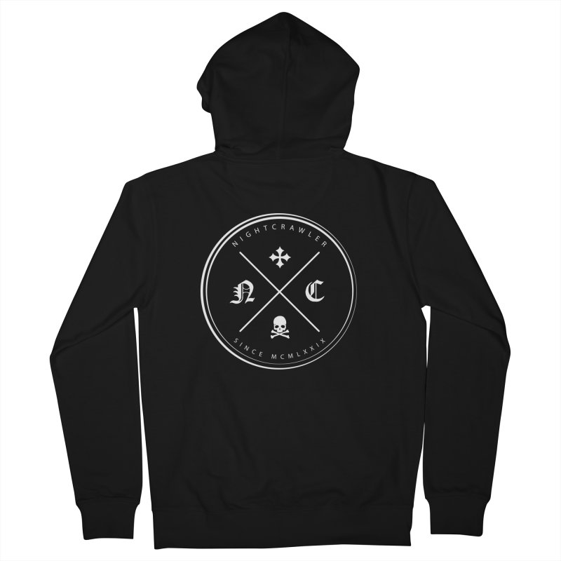 Circle Logo in Men's French Terry Zip-Up Hoody Black by nightcrawlershop's Artist Shop