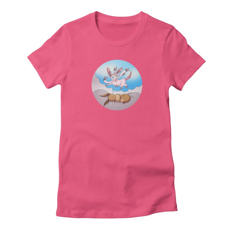 Sweet Dreams: Sylveon Women's Fitted T-Shirt by Night Shift Comics Shop