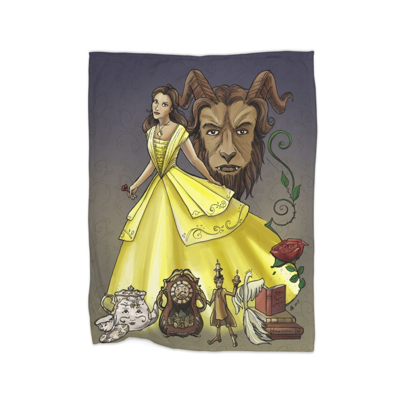 Belle and the Beast Home Fleece Blanket Blanket by Night Shift Comics Shop