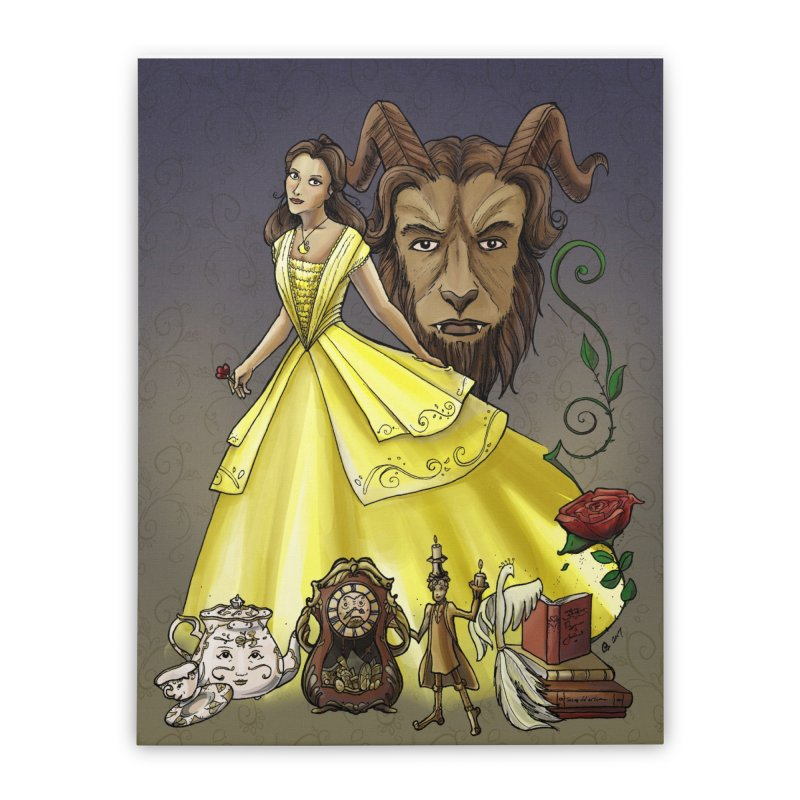 Belle and the Beast Home Stretched Canvas by Night Shift Comics Shop