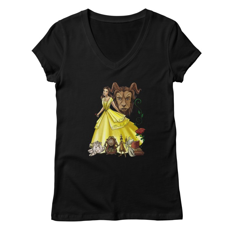 Belle and the Beast Women's V-Neck by Night Shift Comics Shop