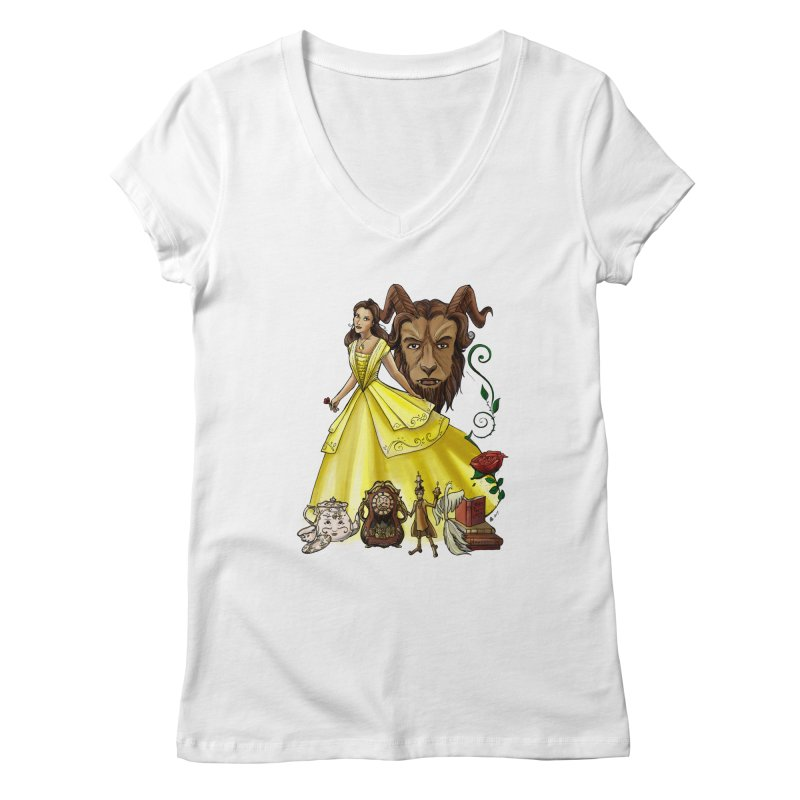 Belle and the Beast Women's Regular V-Neck by Night Shift Comics Shop