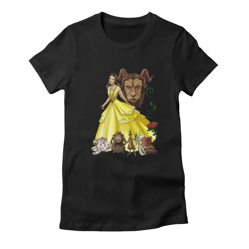 Belle and the Beast Women's Fitted T-Shirt by Night Shift Comics Shop
