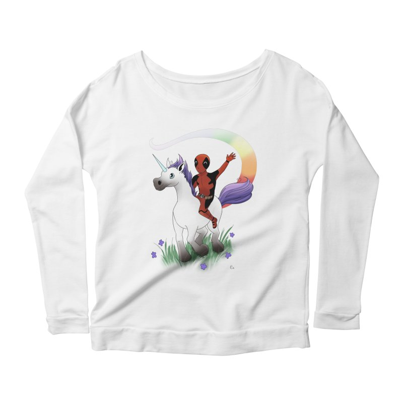 Deadpool - Unicorn Women's Scoop Neck Longsleeve T-Shirt by Night Shift Comics Shop