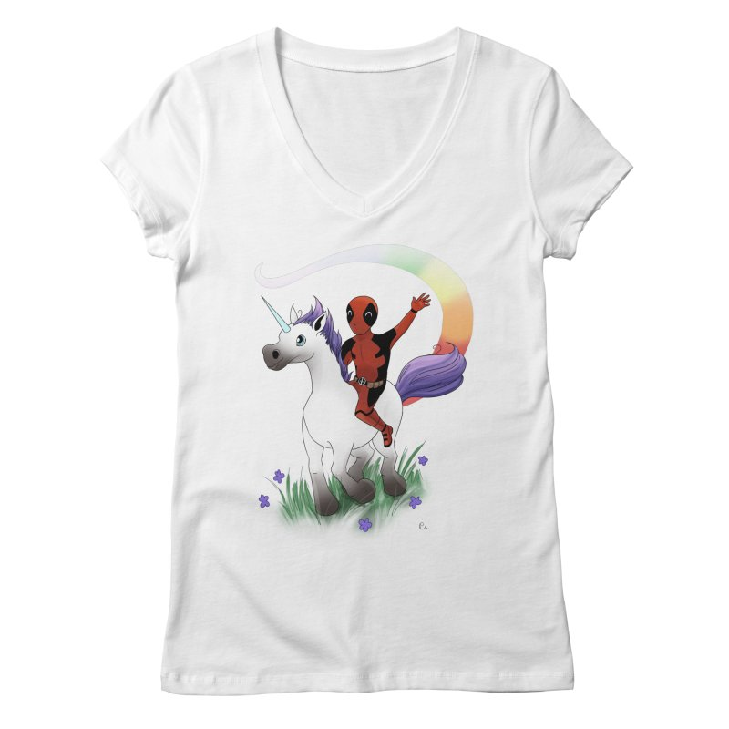 Deadpool - Unicorn Women's Regular V-Neck by Night Shift Comics Shop