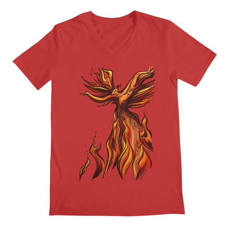 Phoenix Men's Regular V-Neck by Night Shift Comics Shop