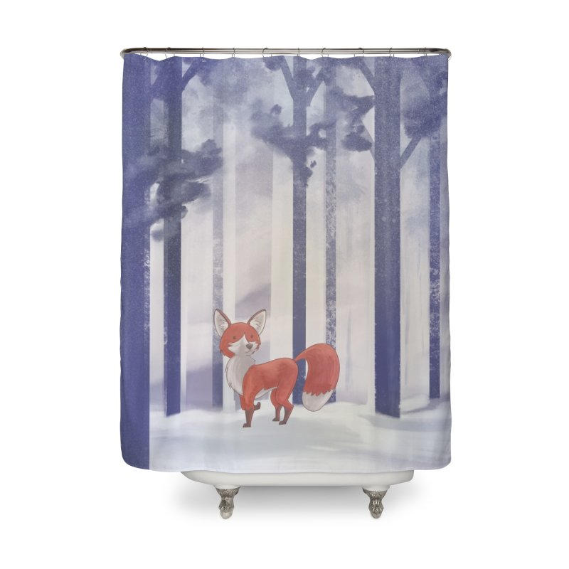Winter Fox Home Shower Curtain by Night Shift Comics Shop