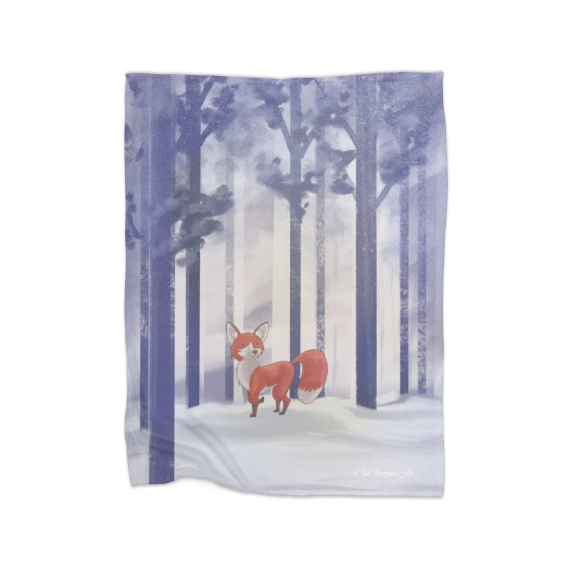 Winter Fox Home Fleece Blanket Blanket by Night Shift Comics Shop