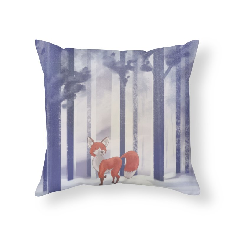 Winter Fox Home Throw Pillow by Night Shift Comics Shop