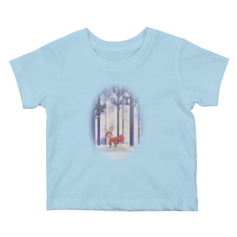 Winter Fox Kids Baby T-Shirt by Night Shift Comics Shop