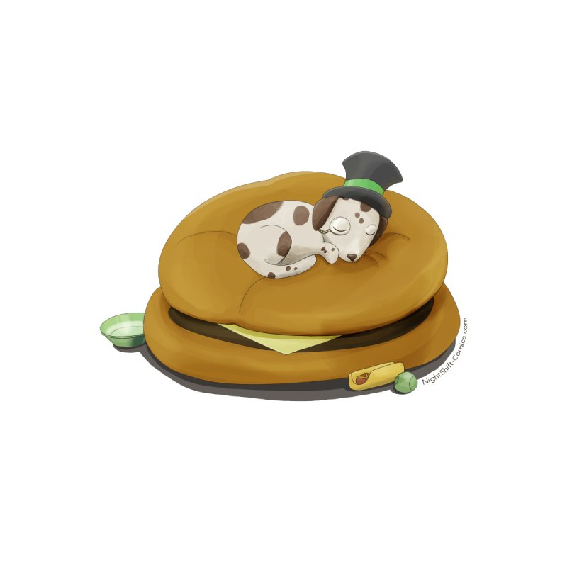Puppy on a Burger Bed Home Fine Art Print by Night Shift Comics Shop