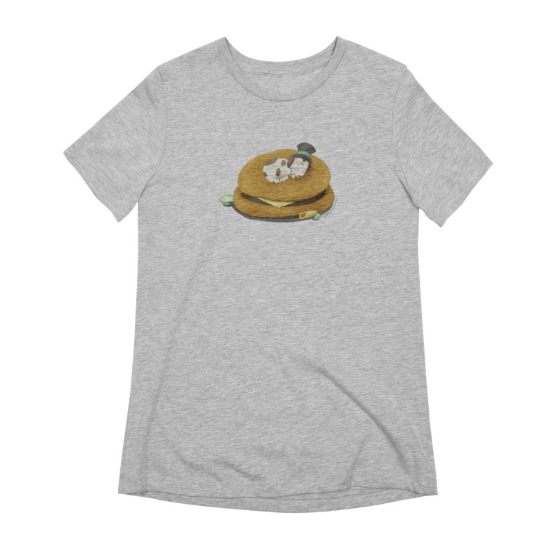 Puppy on a Burger Bed Women's Extra Soft T-Shirt by Night Shift Comics Shop