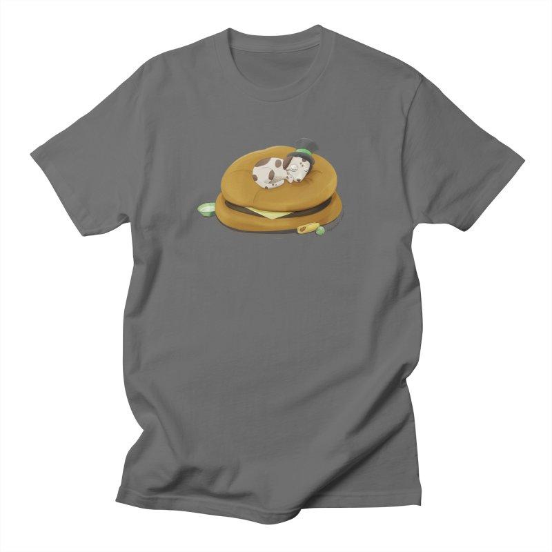 Puppy on a Burger Bed Men's T-Shirt by Night Shift Comics Shop