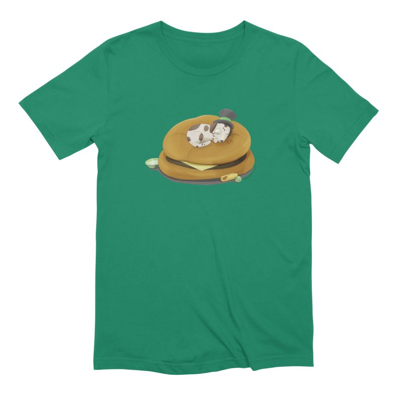 Puppy on a Burger Bed Men's Extra Soft T-Shirt by Night Shift Comics Shop