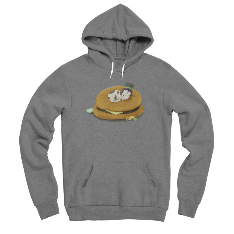 Puppy on a Burger Bed Men's Sponge Fleece Pullover Hoody by Night Shift Comics Shop