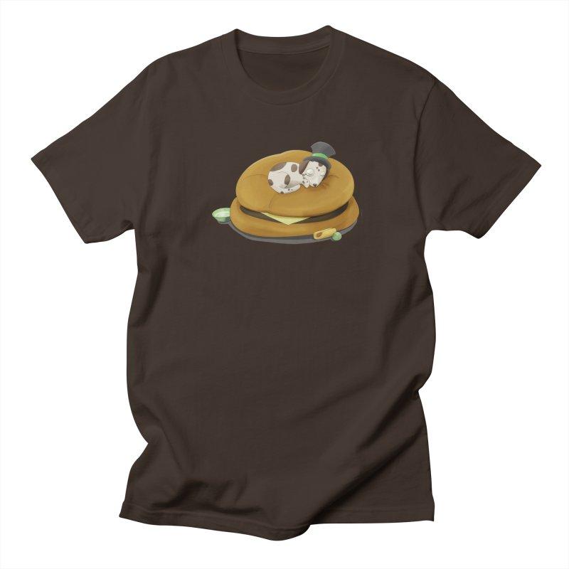 Puppy on a Burger Bed Men's Regular T-Shirt by Night Shift Comics Shop