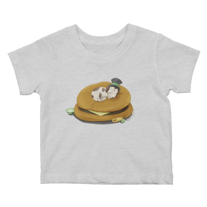 Puppy on a Burger Bed Kids Baby T-Shirt by Night Shift Comics Shop