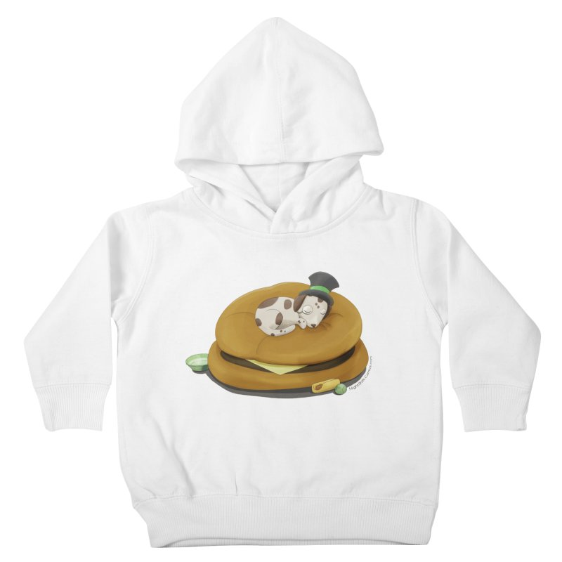 Puppy on a Burger Bed Kids Toddler Pullover Hoody by Night Shift Comics Shop