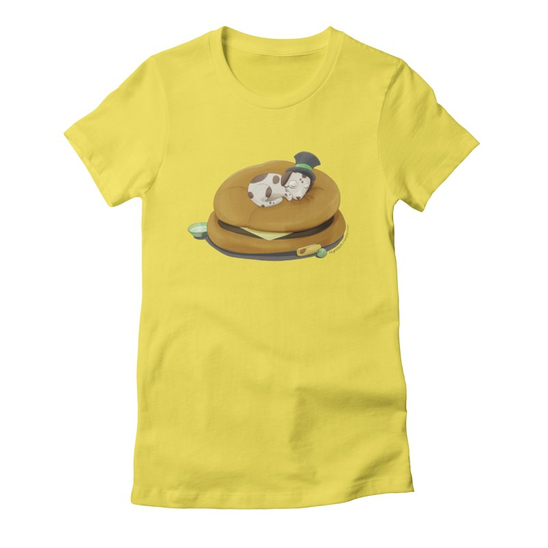 Puppy on a Burger Bed Women's Fitted T-Shirt by Night Shift Comics Shop