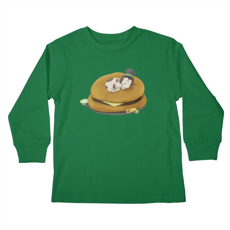 Puppy on a Burger Bed Kids Longsleeve T-Shirt by Night Shift Comics Shop