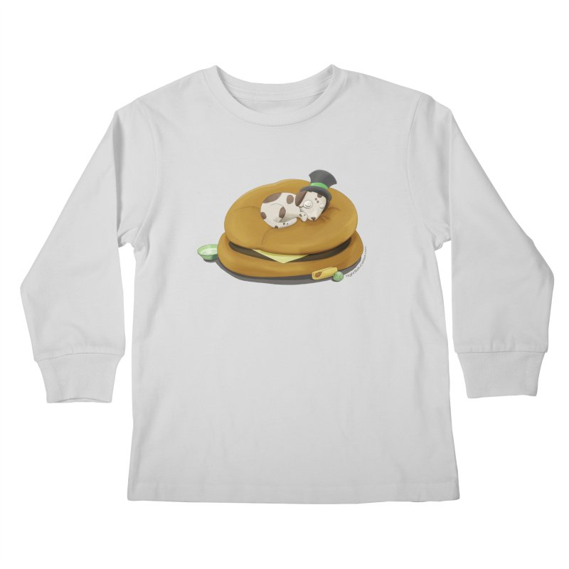 Puppy on a Burger Bed Kids Longsleeve T-Shirt by Night Shift Comics Shop
