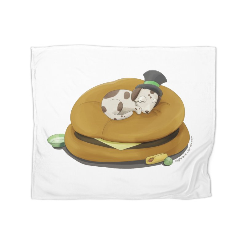Puppy on a Burger Bed Home Fleece Blanket Blanket by Night Shift Comics Shop