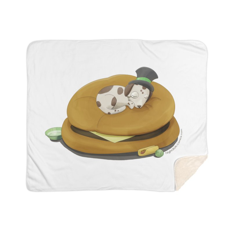 Puppy on a Burger Bed Home Sherpa Blanket Blanket by Night Shift Comics Shop
