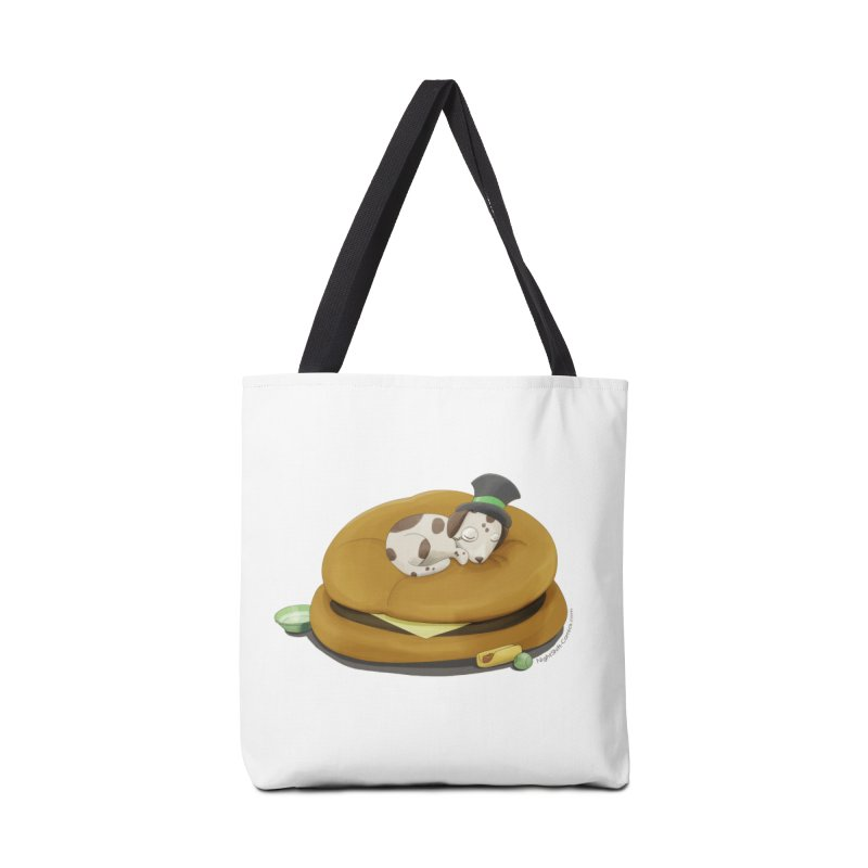Puppy on a Burger Bed Accessories Tote Bag Bag by Night Shift Comics Shop