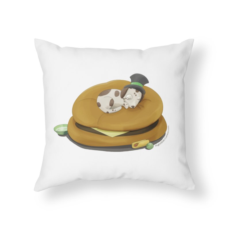 Puppy on a Burger Bed Home Throw Pillow by Night Shift Comics Shop